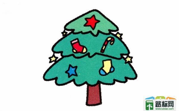 卡通圣诞树简笔画教程